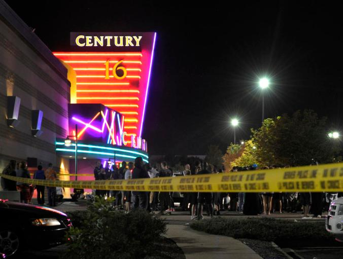 Aurora Police responded to the Century 16 movie theatre early Friday morning, July 20, 2012.  Scanner traffic indicates that dozens of people were hurt in a shooting inside the theatre. Karl Gehring/The Denver Post
