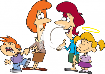 0511-1004-0916-3150_Cartoon_Mothers_with_Their_Good_and_Bad_Kids_clipart_image